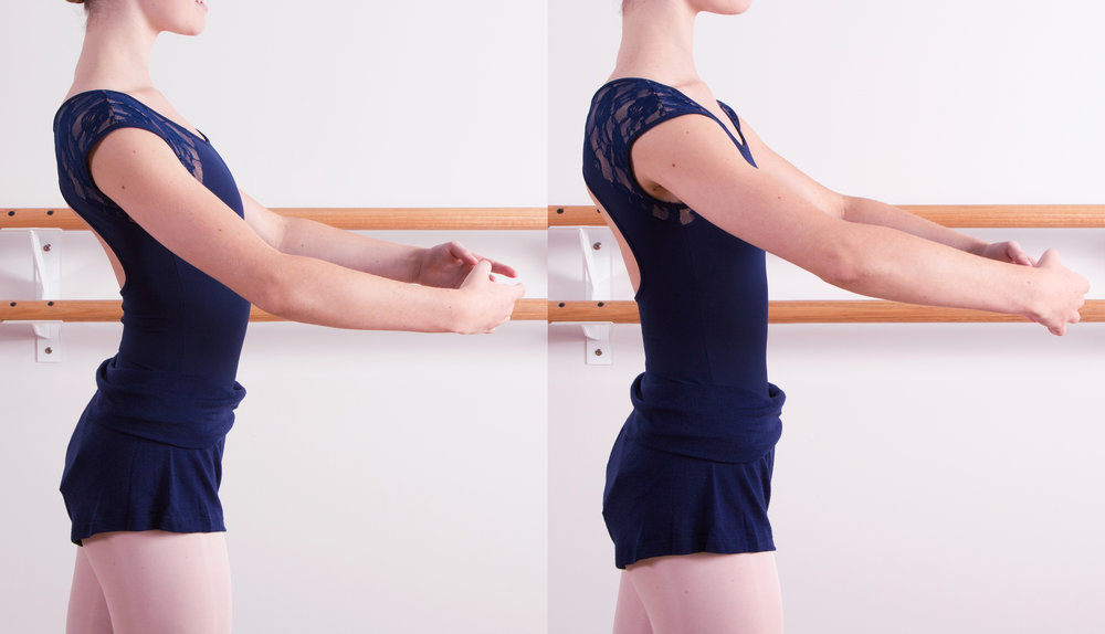 Left: incorrect posture (head and neck forward, arms not lifted from underneath, core disengaged, bum sticking out and pelvis tilted forward, which causes bad alignment. Right: improved posture (head and neck in line, chin level, arms lifted from underneath, chest over hips, core engaged, pelvis tucked in, gluteal muscles activated.