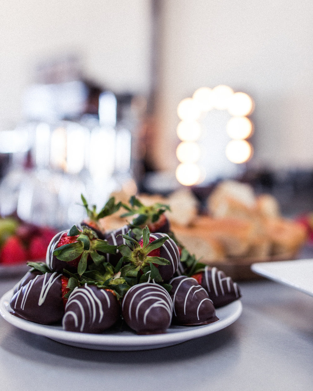 The day began with Strawberries, Chocolate and Champagne