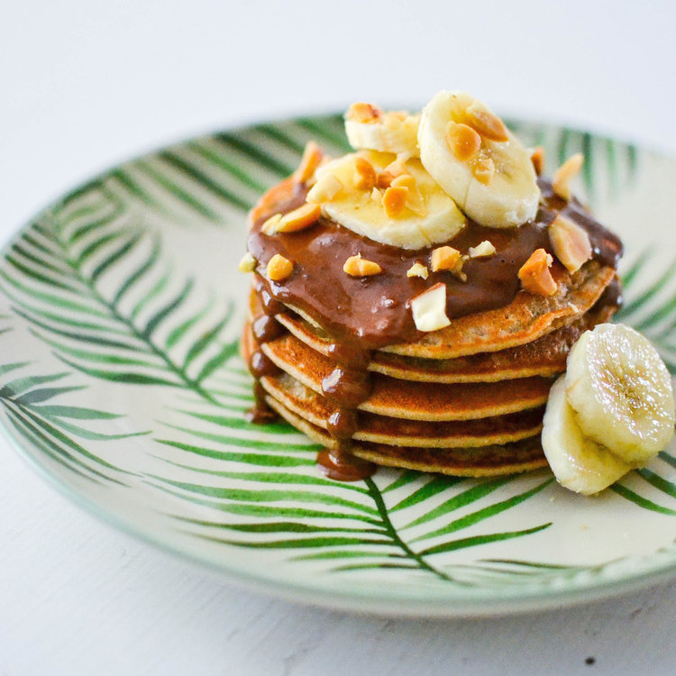 Banana Pancakes with Peanut Butter Chocolate Sauce