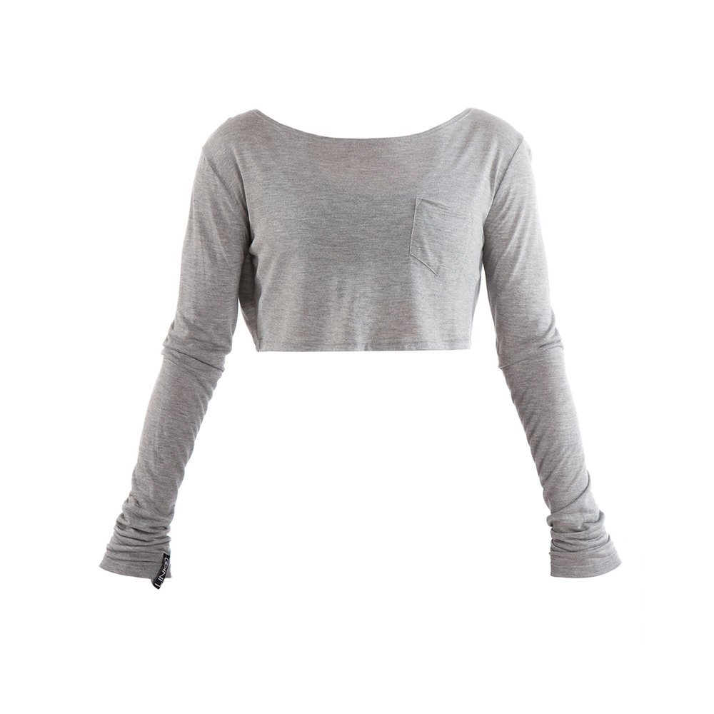 LINKD Long Sleeve Crop - Grey Marle