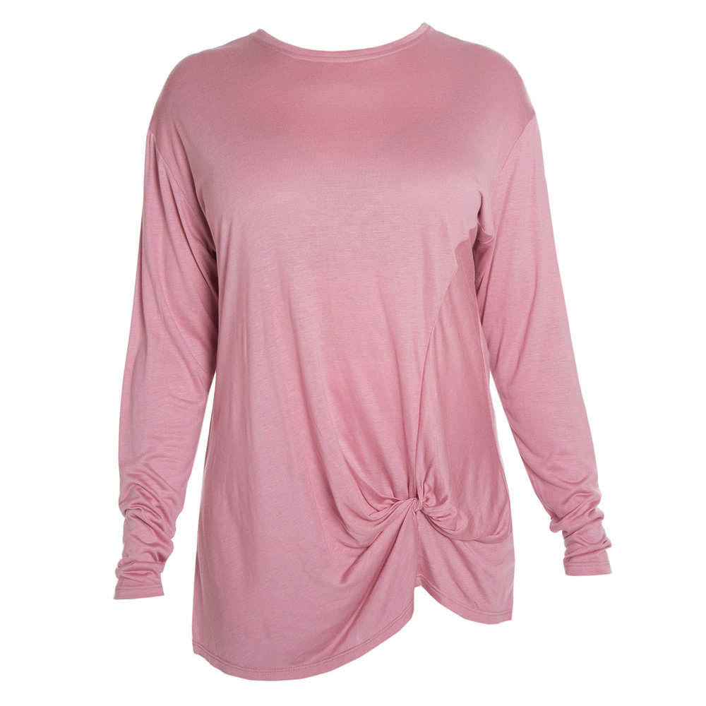 Aubrey Knot Long Sleeve Tee - Dusty Rose