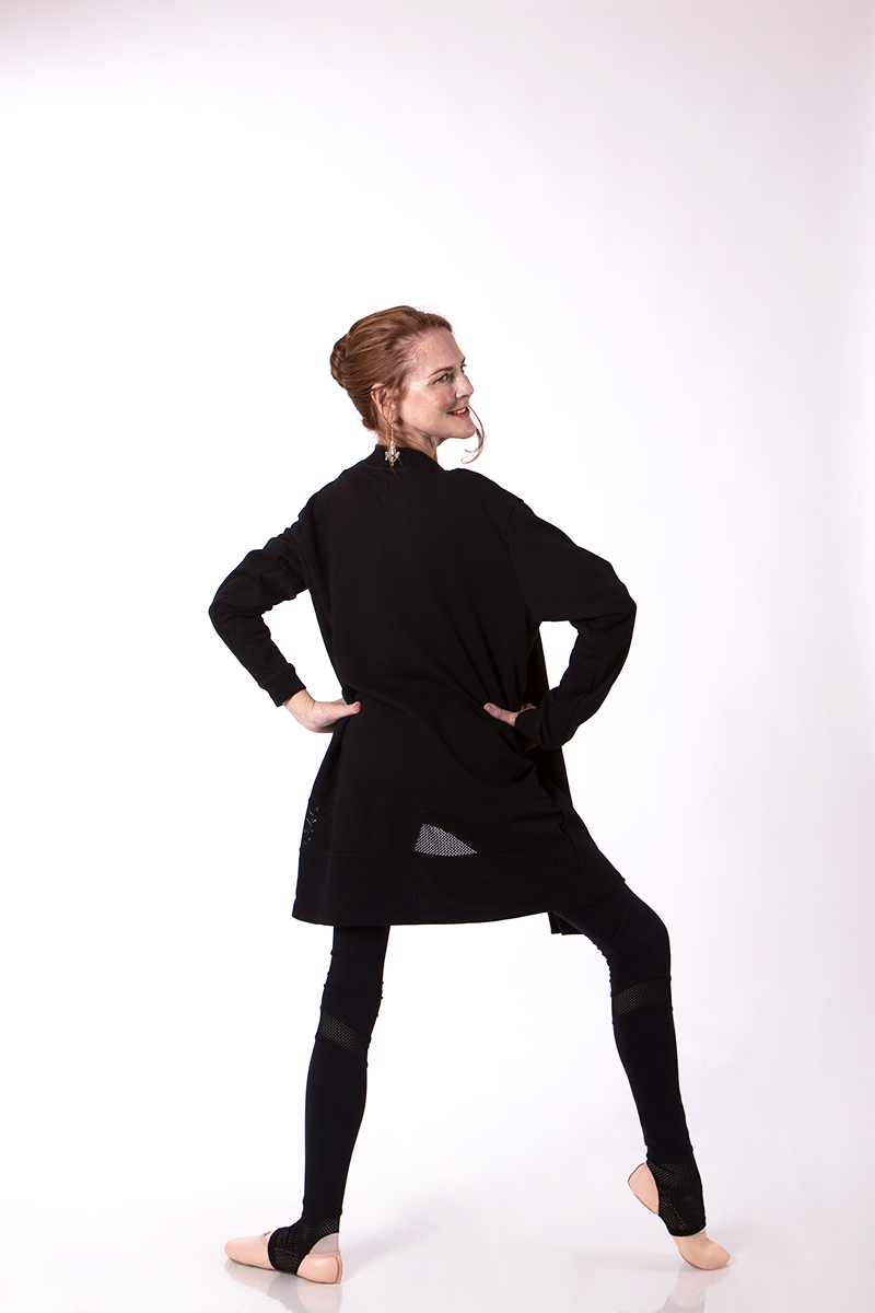 Carol wears the  Zara Extended Mesh Legging  and  Kora Kimono  in Black, with the  Révélation  Ballet Shoe
