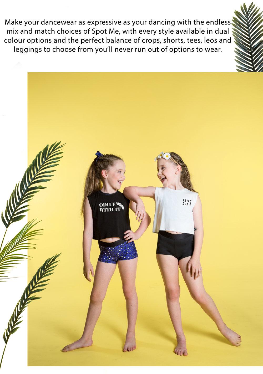 Eloise wears the  Riley Crop Top  (in Black) &  Eve Short (in Spot Me), Isobel wears the  Riley Crop Top  (in White)&  Eve Sort  (in Black).