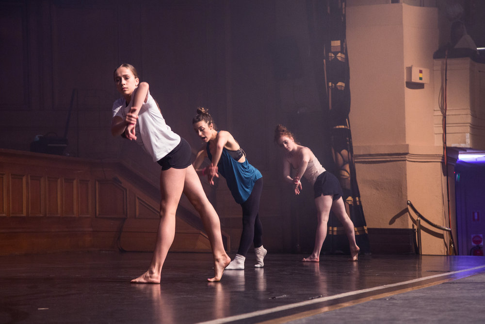 Tate McRae, Kathryn McCormick and Sarah Frangenberg teaching onstage at VDF 2017