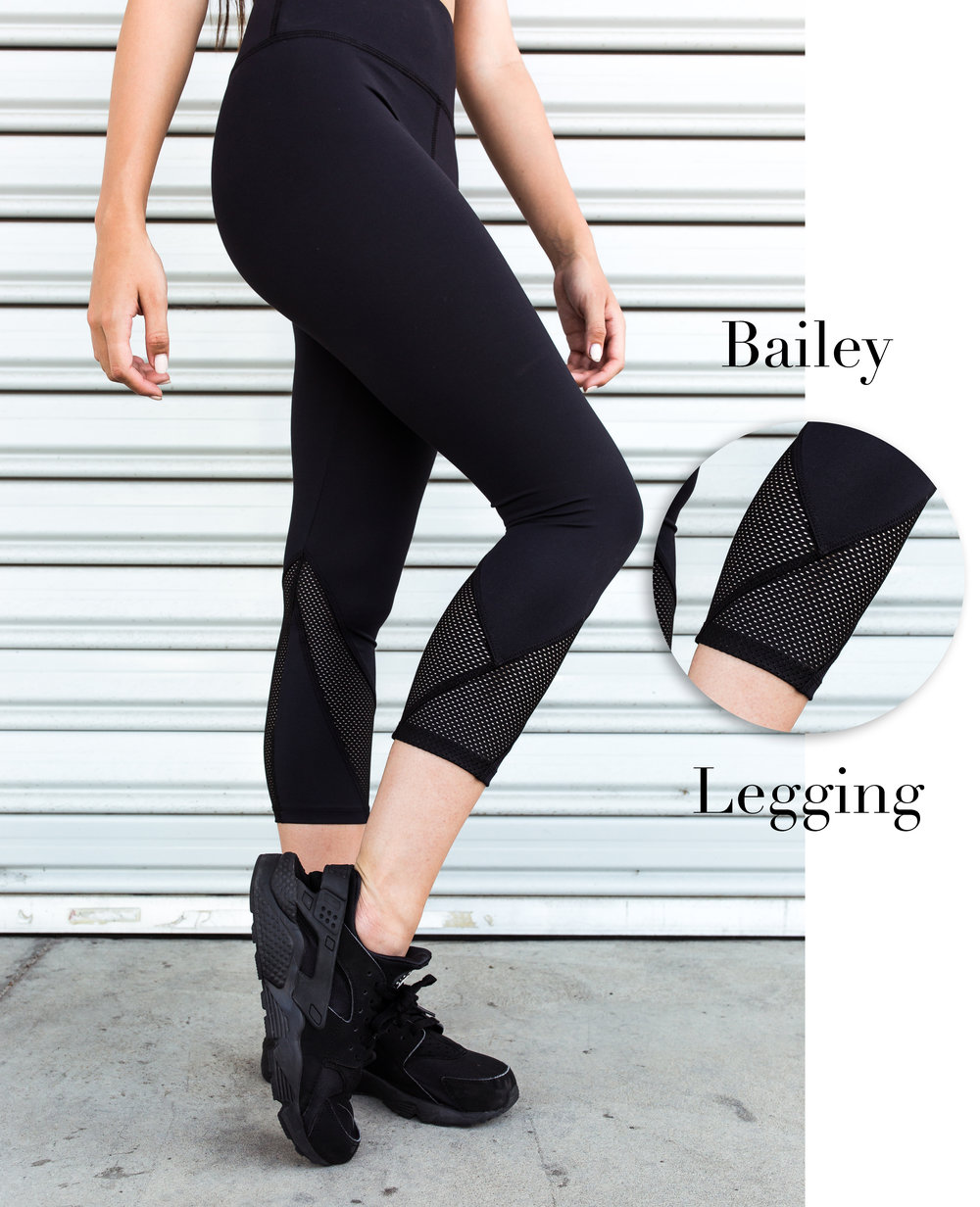 Portia wears the Ivy Crop in Black, and the Bailey Legging in Black Subli
