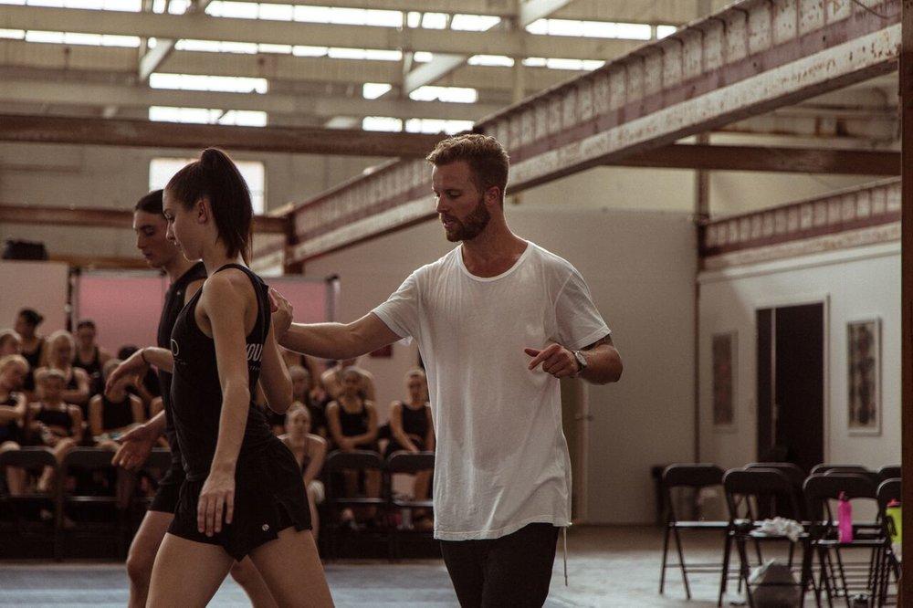 Jarryd Byrne teaches students at Transit Dance