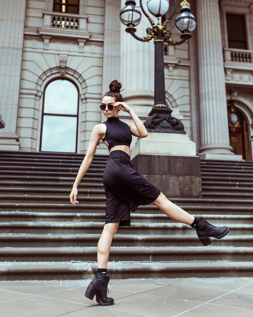 Portia wears: Energetiks  Urban Shorts  and  Ivy Crop  in black.