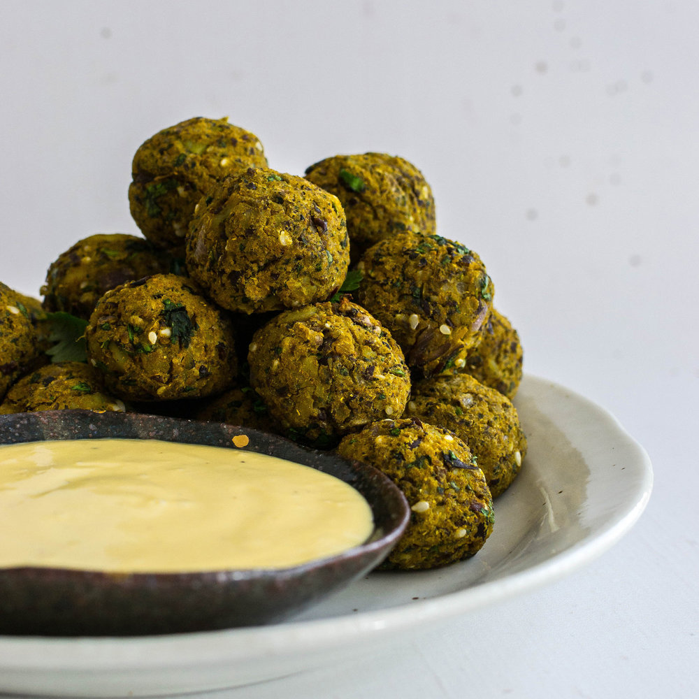 Curry Bean Bites with mango Tahini Sauce