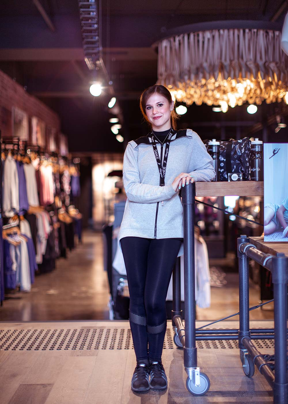 Amy manages the Energetiks Platinum Store in Moorabbin. She wears the  Jordan Jacket , and  Zara Extended Mesh Legging .
