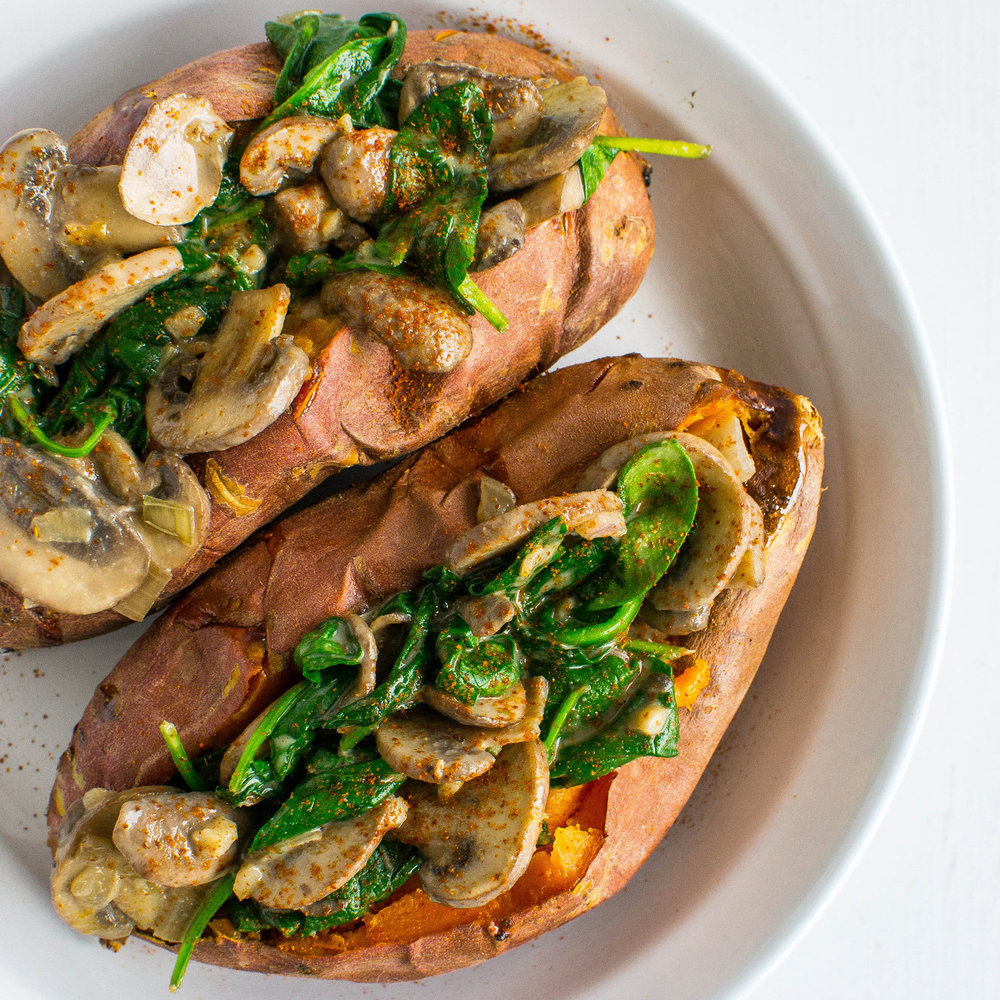 Ballerina Bites: Creamy Mushroom and Spinach Stuffed Sweet Potatoes