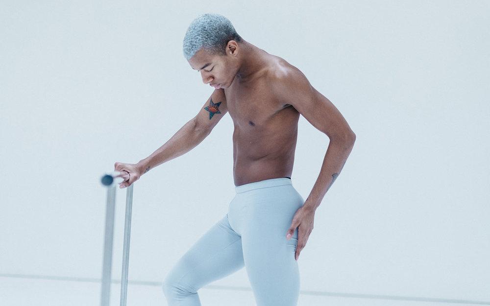 Louis wears the  Oakley Legging  in Silver  Photo credit:  Alex Fine