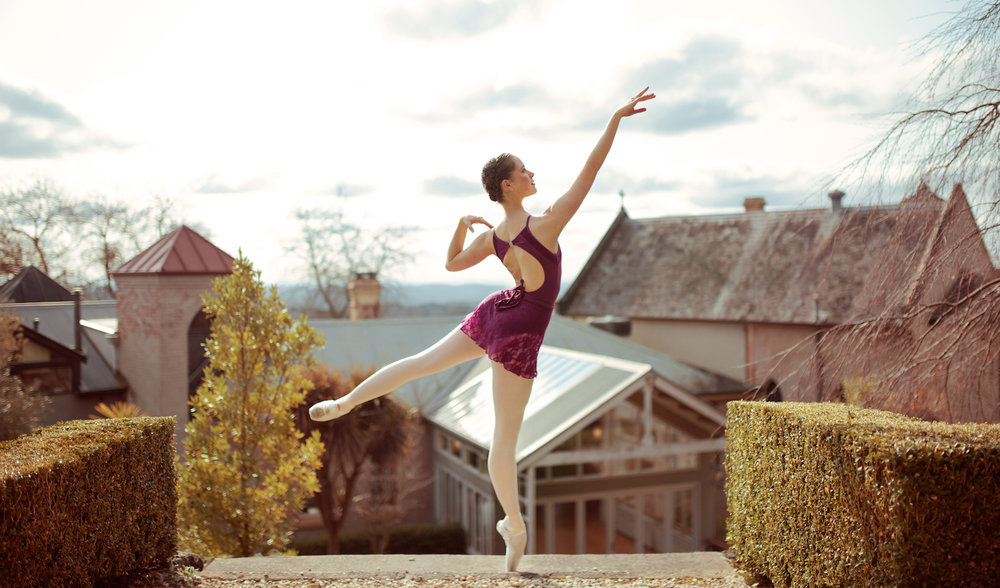 Alexandra McMaster for Energetiks. Alex wears the  Isabella Lace Leotard  and  Melody Lace Skirt  in Cerise