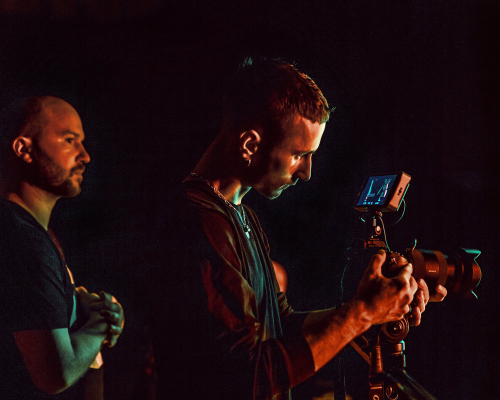Behind the scenes at the GODDESS promo shoot. Photograph by Elly Ford. Also pictured: Marko Panzic.