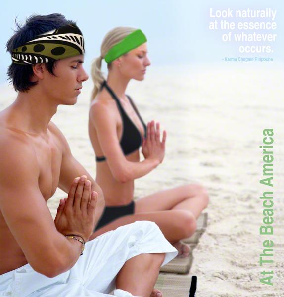 Yoga Couple doing yoga with Headbands on