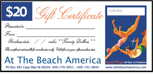 Gift Certificate To Print Out or Email - At the Beach America $30 ...
