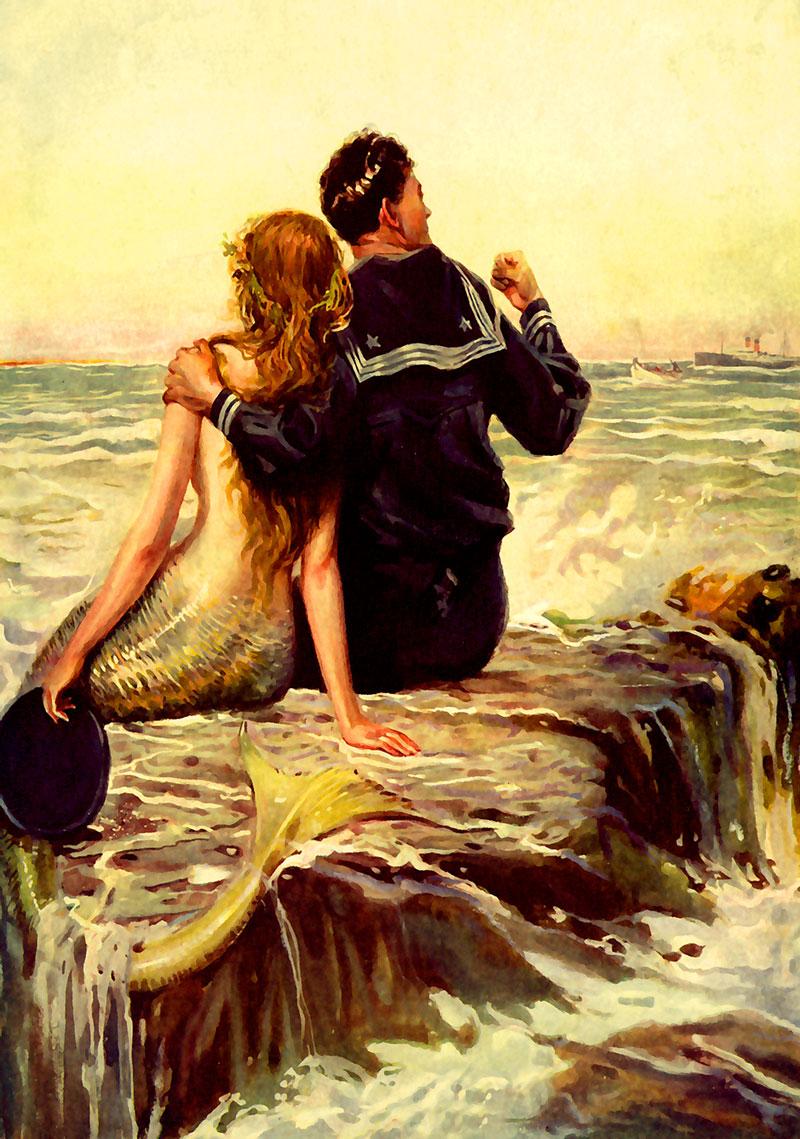 Sailor on ocean island rock with mermaid love.