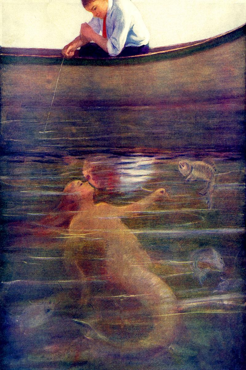 Yong Mermaid kissing boy in a boat.