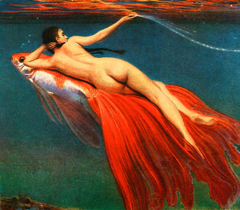 Mermaid riding gold fish print.