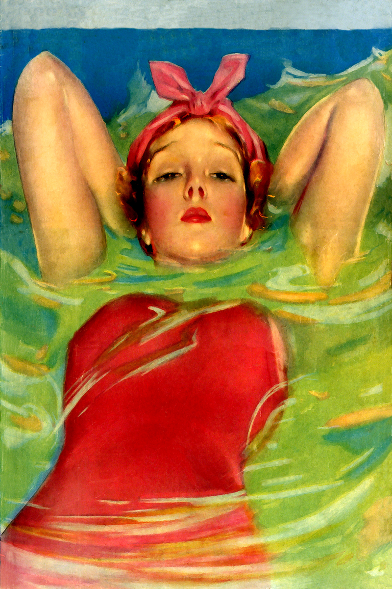 1920's Lady swimming on the beach, art print.