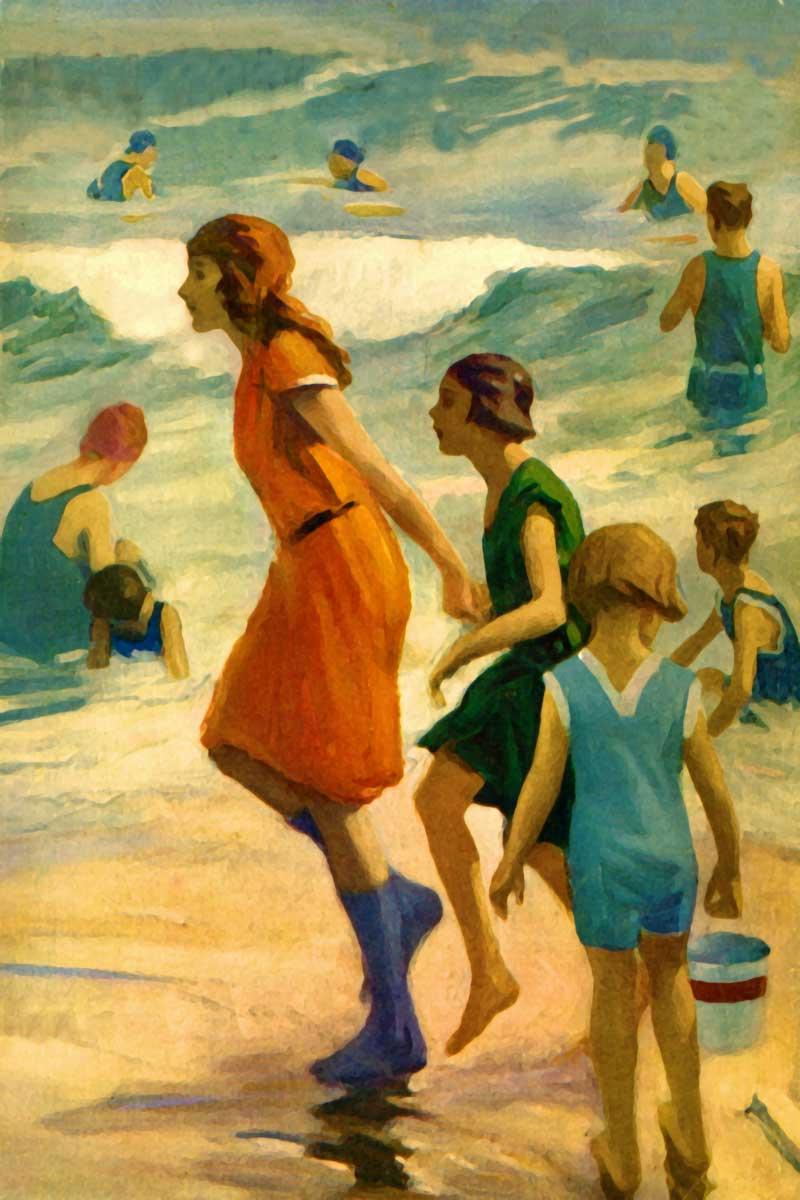 3 Sister walking the Retro beach