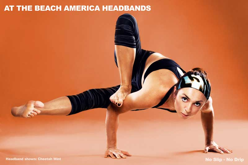 The model is demonstrating an advanced yoga pose while wearing the ATBA yoga headband. Looks Great and is not slipping off while wicking perspiration away from the face and eyes.