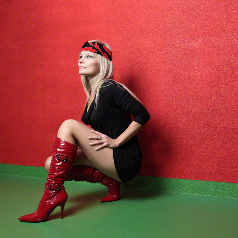 Red and Black Headband on blond model black dress red boots