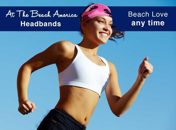 Running Headband pink camo on women runner with black hair.