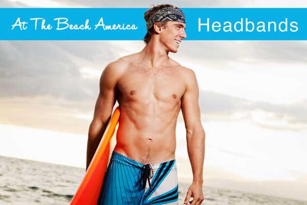 Surfer wearing cooling Black and white Bandana headband