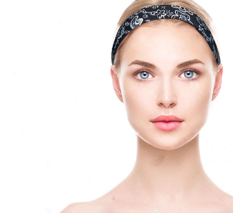 Blond model wearing black and silver bandana headband