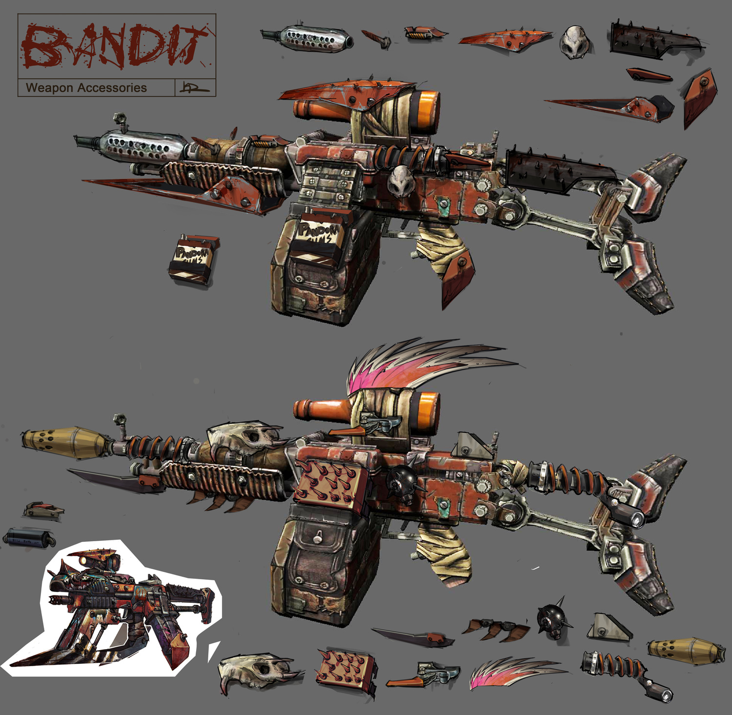 Borderlands 2: Bandit Weapons — Kevin Duc Concept Design Borderlands 3