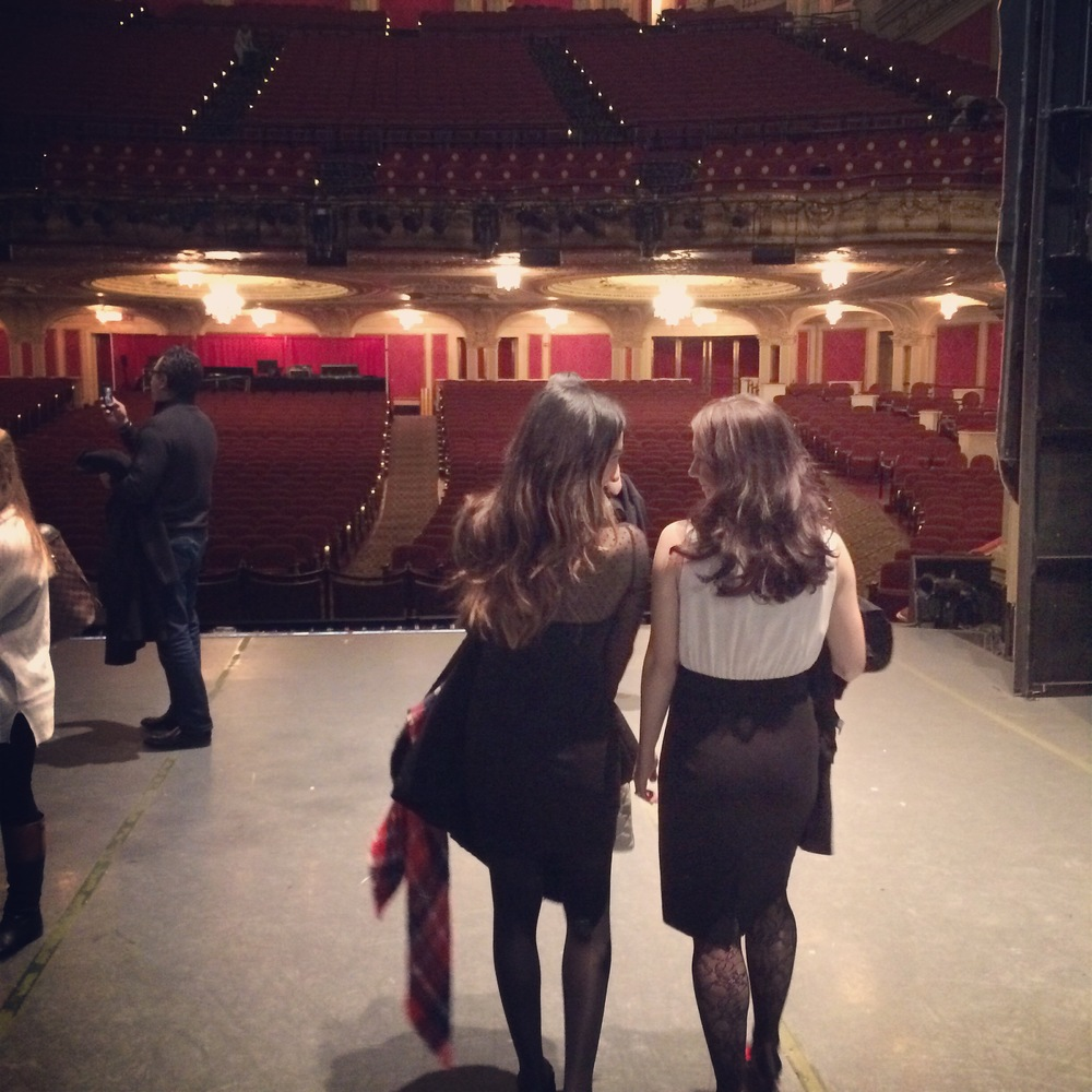 Jenn and I having a moment while getting the view of what the dancers see while performing.