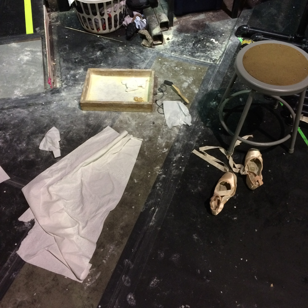 Where the dancers prep their point shoes before heading on stage.