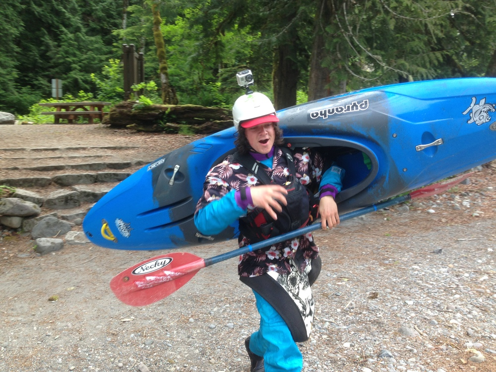 Guide Josh Larsen with a new Pyranha Shiva kayak (selected as our safety kayak)