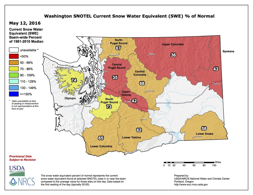 Snowpack report for whitewater rafting in Washington during 2016 season