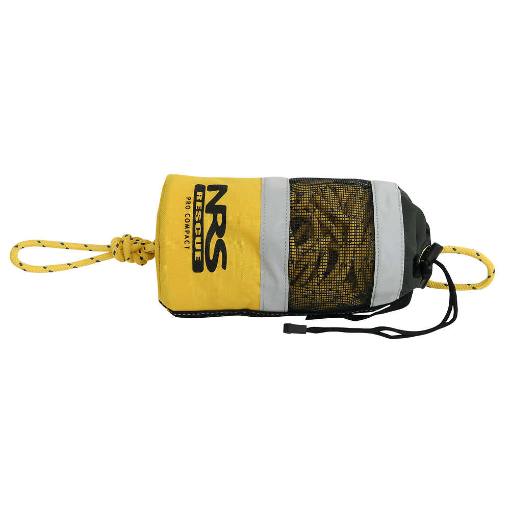 A Compact Pro Rescue Throw bag, with 70 feet of 1/4 inch Spectra core rope, and a tensile strength of 2500 pounds. A rope with more strength than a standard throw bag, but in a more compact bag.