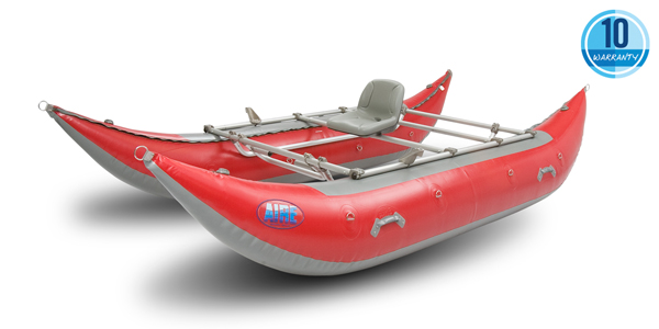 The 14 foot Aire Wave Destroyer is a popular safety cataraft on guided whitewater river rafting trips. Source: http://www.aire.com/aire-cataraft/wave-destroyer-14.asp