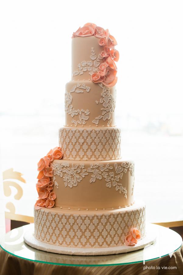 Creme de la Creme Cake Company Fondant round cakes tall classic flowers pattern Photo La Vie-1.JPG