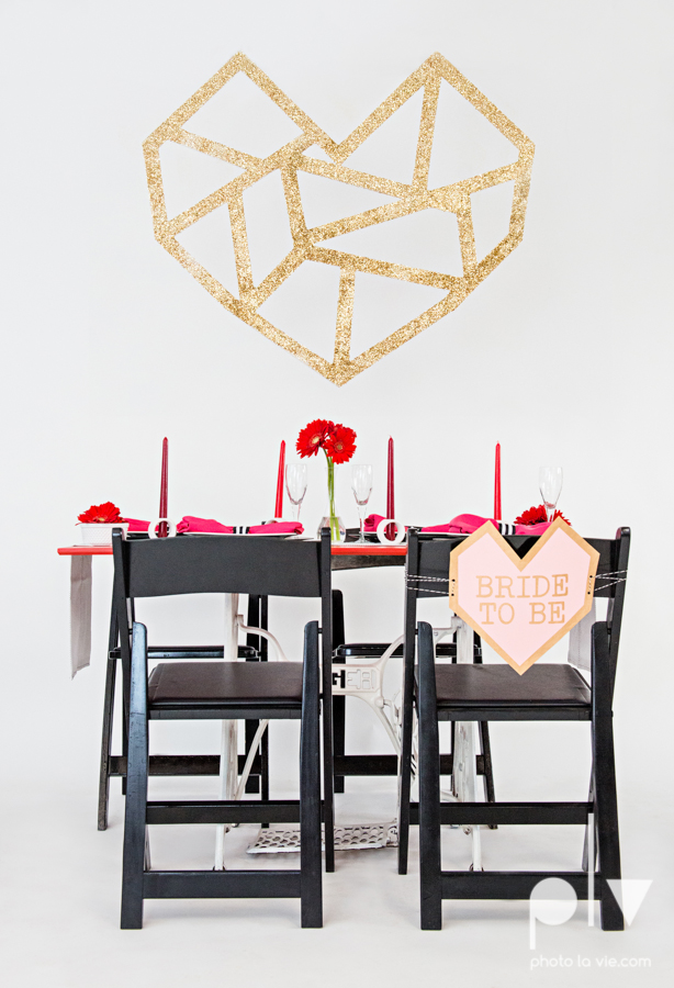 ValentinesDay Mini Session bridal shower theme styled gold black white pink red modern bold type text heart cake glitter statement stripes dot candle daisy singer bow Dainty Dahlias Sarah Whittaker Photo La Vie-1.JPG