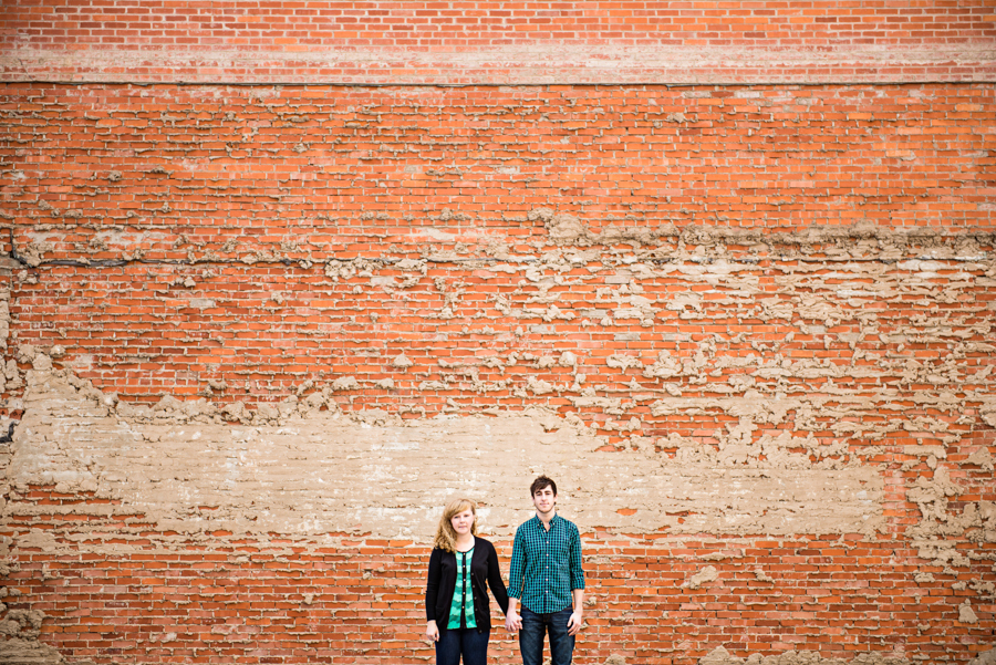 Photo La Vie Sarah Whittaker wedding photographer engagement photography DFW dallas fort worth downtown sundance square the bird fort worth modern art museum richard serra architecture brick wall vintage retro-3.JPG