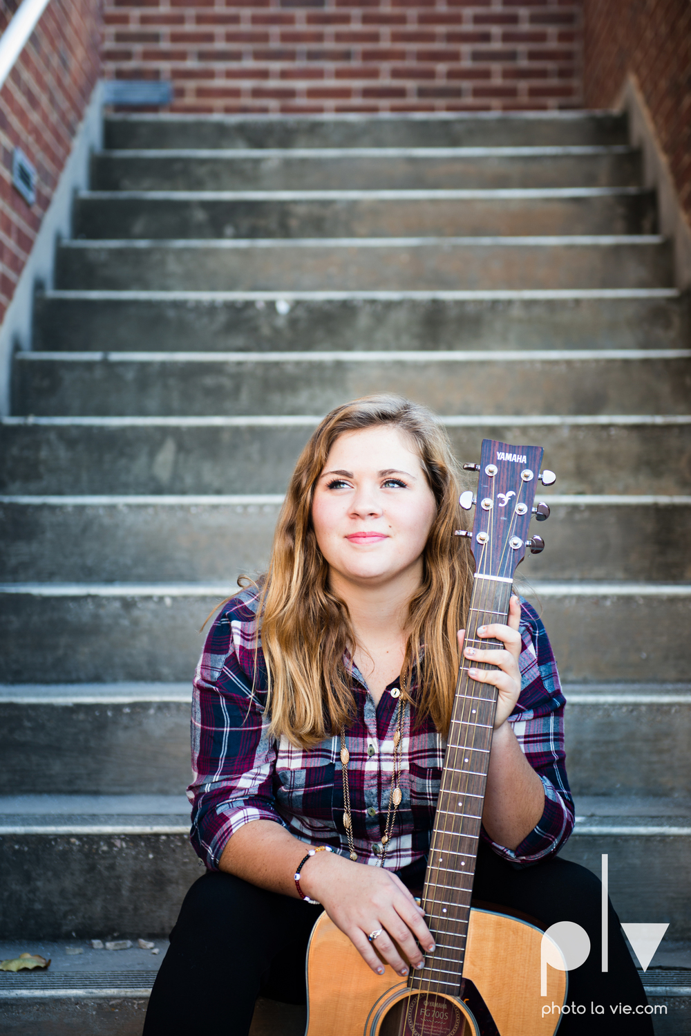 Abi senior session photo DBU dallas dfw texas girl high school campus fall winter plaid dress purple guitar Sarah Whittaker Photo La Vie-7.JPG