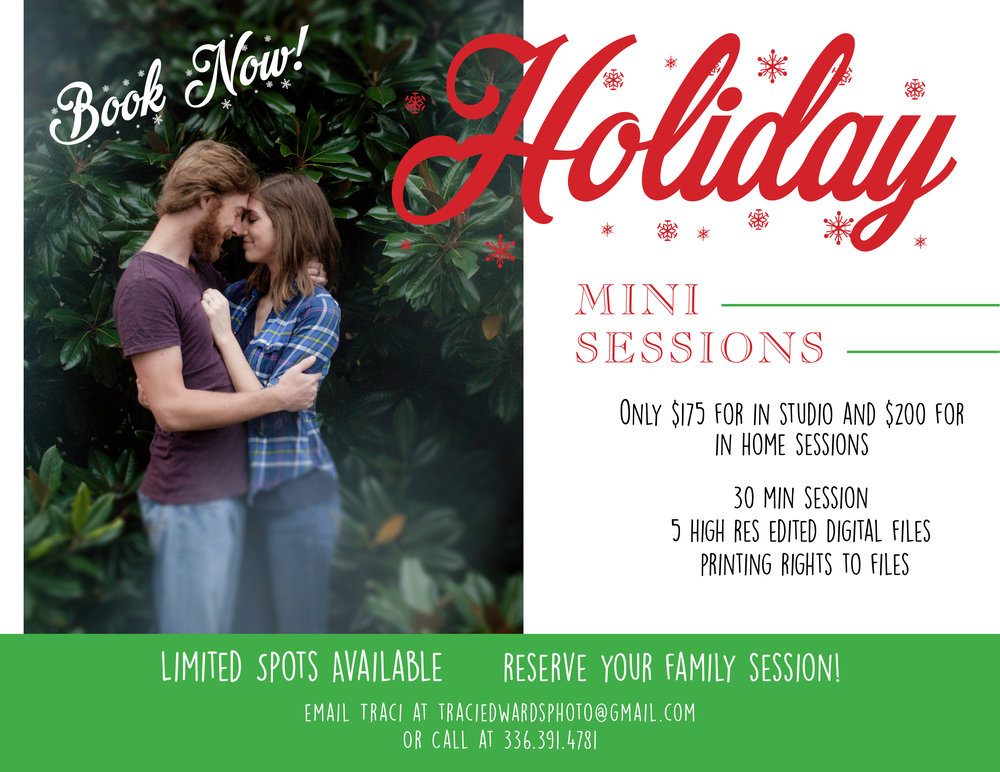 Do not forget to book your Holiday mini session! - The at home session option is a great way to do your holiday mini session for pictures that you could display year round! For more informaion click here, or contact me to book now!