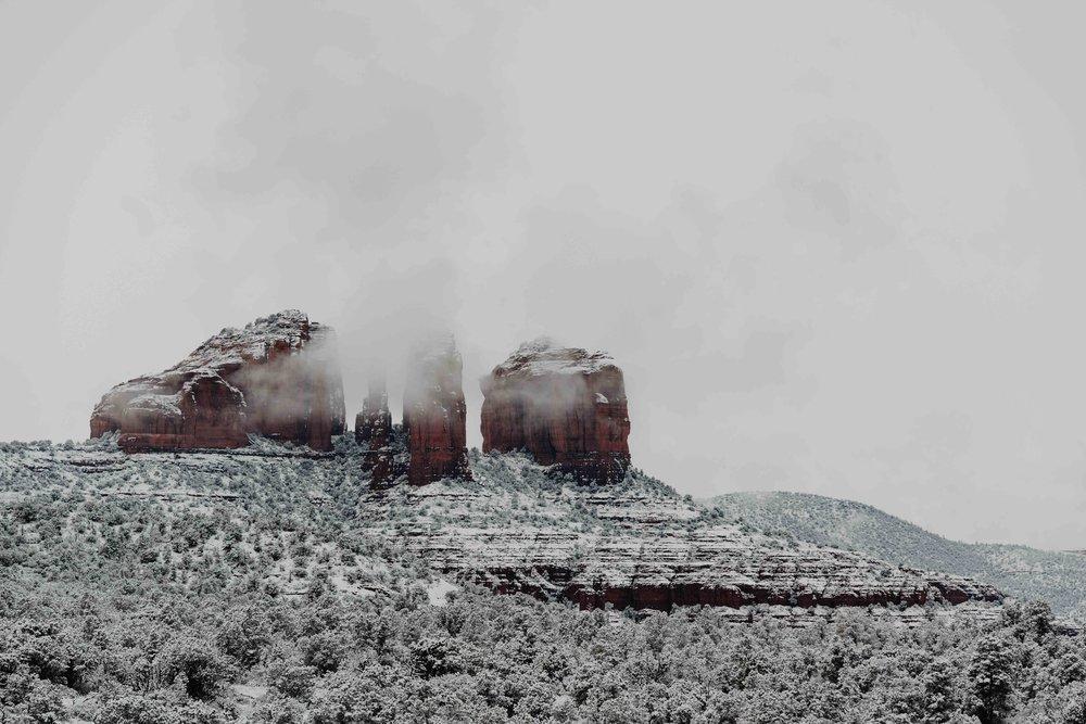 Sedona in the Snow - Cathedral Rock in Sedona, Arizona - Sedona Elopement photographer
