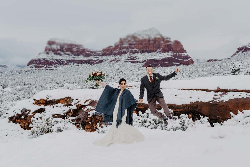 Sedona Elopement Packages - Sedona Elopement Photographer - Sedona Wedding Photographer - Adventure Elopement Photographer in Arizona - Snowy Elopement