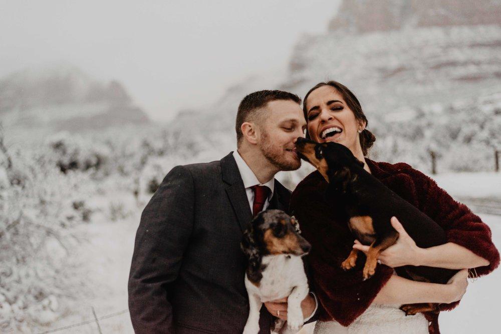 Winter Elopement with dogs - Adventure elopement sedona - winter elopement inspiration