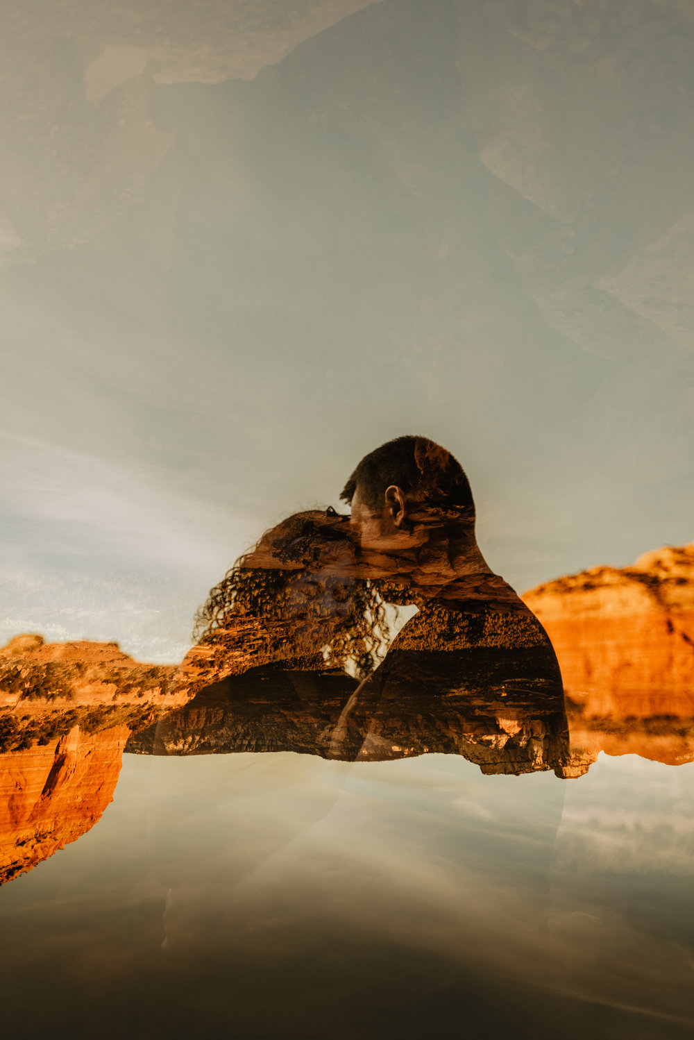 double exposure  in camera - sedona couples session - sedona engagement session
