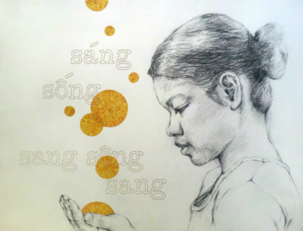 """Sáng, Sóng, Sang Sông, Sang    (To Lighten, to Live, to Cross a River, to Arrive) , 2013, Charcoal, joss paper and hand stitching on paper, 19 x 24""""  This drawing of my mother observes the faith by which my mother lives her life, and the persistence by which she presses forward in this life. She has lived through times of wealth and times of poverty, times of plenty and times of hunger, and like all of us, has persevered through heartache which undoubtedly leads to those cherished moments of healing.  The Vietnamese hand stitched text reads, """"sáng, sóng, sang sông, sang"""", which translates to """"to Lighten, to Live, to Cross a River, to Arrive"""".  Through her life, my mother has taught me that by seeing the world through a lens of hope, we can continue appreciating Life in its entirety regardless of circumstance. And although these storms can devastate and seemingly destroy, they know their worth. Whether to test our Will, to help us recognize those who are true in our lives, to teach us important lessons in compassion, or to test our intrinsic strength, these storms will ever reveal to us the worthy reasons for their afflictions upon us.  Together we have learned that if we can just endure and learn to move with their currents, these storms will eventually come to pass, leaving us scarred but wiser, bent but stronger. And as nature has proven, our muscles and bones, just as our Spirits, strengthen under this pressure, and here in these fissures, lies a fertile place for new growth."""