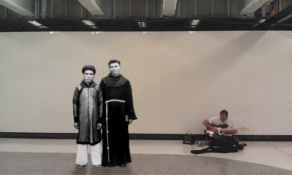 Ong Co (Great Grandfather) and his nephew, 1950 @ Bart Station, San Francsico, 2013    The man on the right is Father Thu, a Franciscan who died from a mine explosion during the Vietnam War.