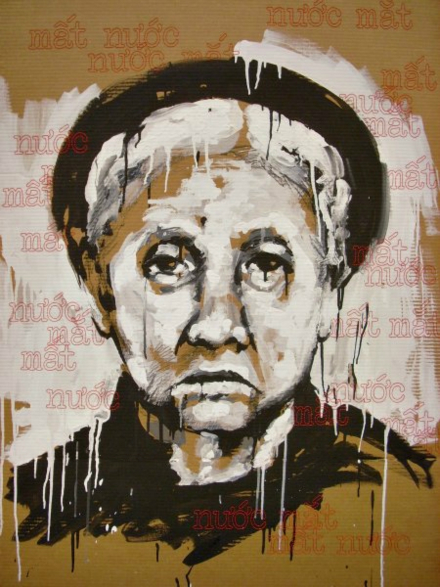 "Mất Nước, Nước Mắt  (Loss of Country, Tears) , 2011, mixed media and hand stitching on cardboard, 45 x 32""  This portrait of my great-great-grandmother reflects the agony shared by those who have experienced the loss of their country or the oppression of their people. To further examine the connections between elements of language, such as the relationship between letter to letter and word to word, I have hand-stitched the following Vietnamese phrases:  Mất Nước translates to ""loss of country"". Nước Mắt translates to ""tears"". Mất Mát translates to ""loss of everything"".  They serve as a shroud to comfort and empathize with those who have experienced similar situations to that of my family, who fled Saigon as boat people in 1975."