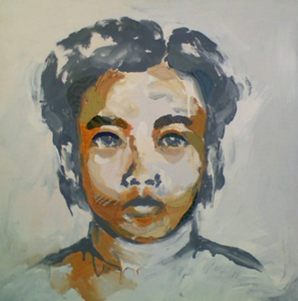 "Study of a Young Girl  , 2010, mixed media on canvas, 24 x 24"", Collection of Dr. Tin Do, San Francisco, CA"