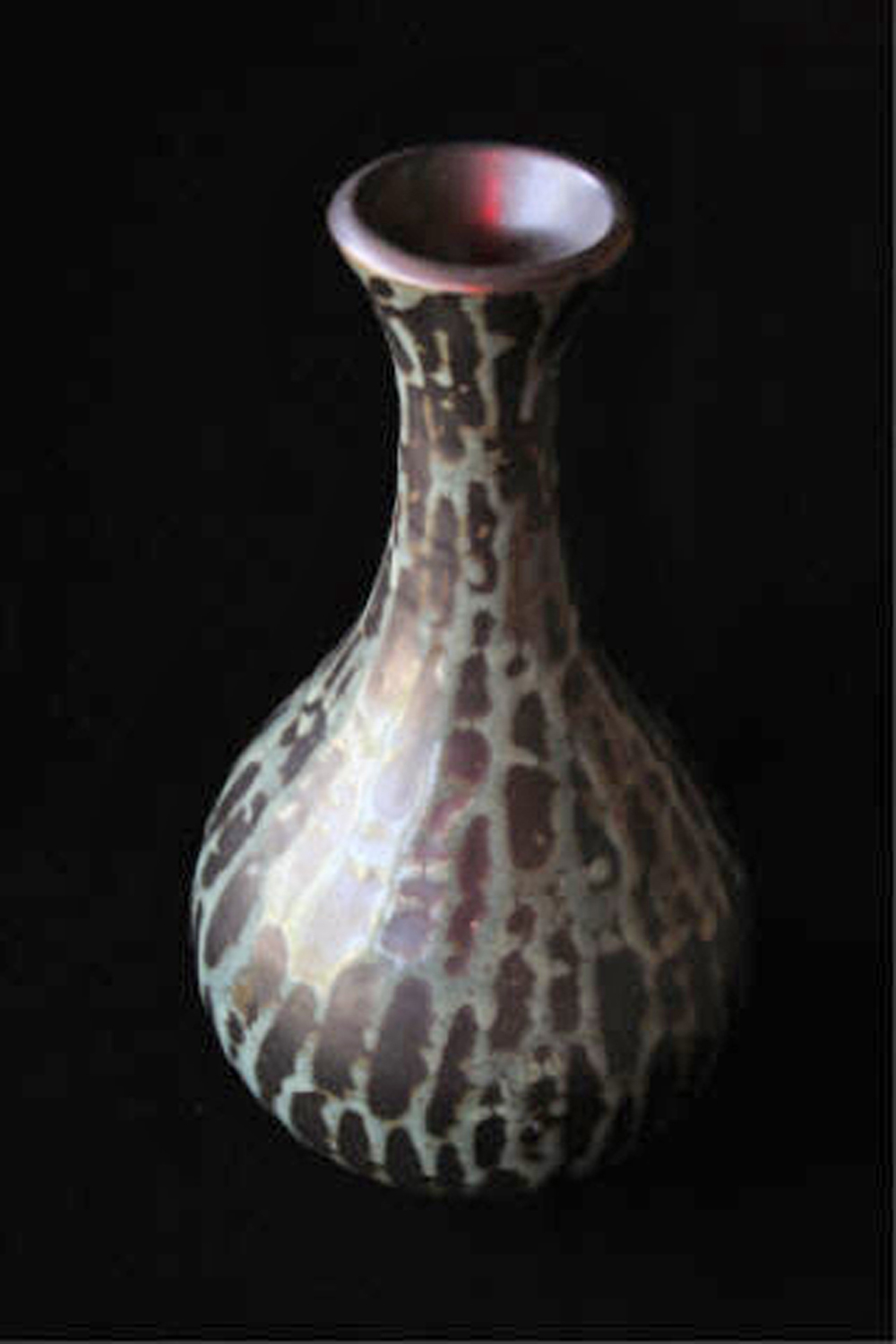 "Celadon on Black  , 2003, wheel-thrown white stoneware Fired at cone 10 reduction, 12 1/2"" h x 6 1/4"" dia"